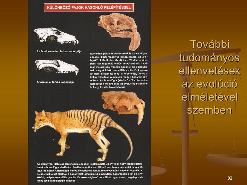 Szent Pál Akadémia82 További tudományos ellenvetések az evolúció elméletével szemben