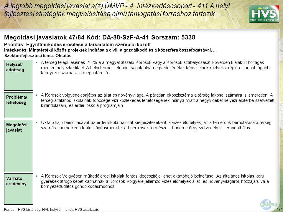 171 Forrás:HVS kistérségi HVI, helyi érintettek, HVS adatbázis Megoldási javaslatok 47/84 Kód: DA-88-SzF-A-41 Sorszám: 5338 A legtöbb megoldási javaslat a(z) ÚMVP - 4.