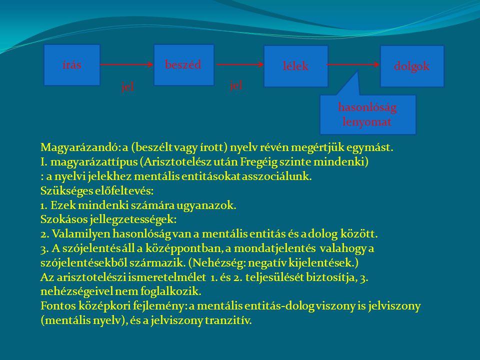 Alternatíva (sztoikusok, Bolzano, Frege): A jelek valamilyen objektív ideális entitásra utalnak (jelentés), ami minden nyelvhasználó számára közös.