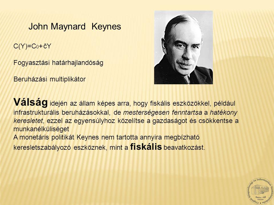 John Maynard Keynes Válság idején az állam képes arra, hogy fiskális eszközökkel, például infrastrukturális beruházásokkal, de mesterségesen fenntarts