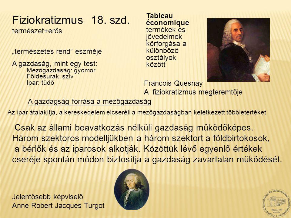 Francois Quesnay A fiziokratizmus megteremtője Jelentősebb képviselő Anne Robert Jacques Turgot Fiziokratizmus 18. szd. természet+erős A gazdagság for