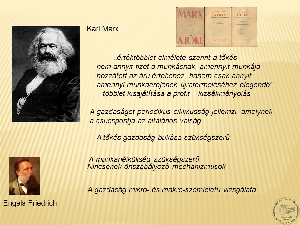 """Karl Marx Engels Friedrich """"értéktöbblet elmélete szerint a tőkés nem annyit fizet a munkásnak, amennyit munkája hozzátett az áru értékéhez, hanem csa"""