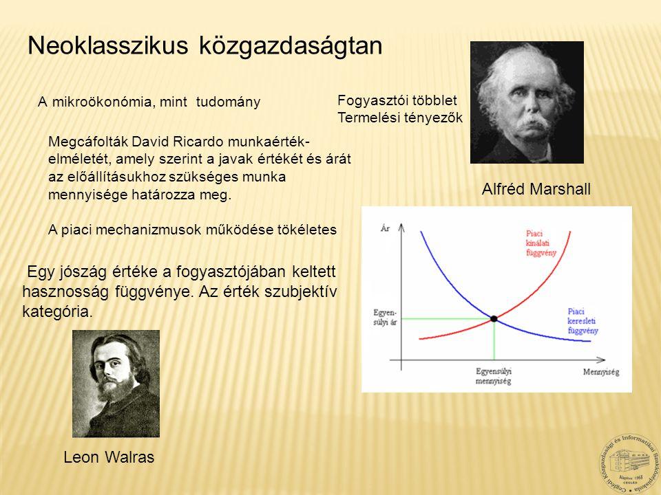 Alfréd Marshall Neoklasszikus közgazdaságtan Leon Walras Egy jószág értéke a fogyasztójában keltett hasznosság függvénye. Az érték szubjektív kategóri