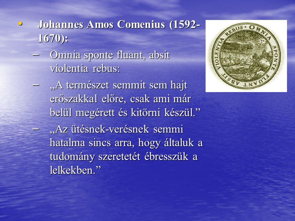 """Johannes Amos Comenius (1592- 1670): Johannes Amos Comenius (1592- 1670): – Omnia sponte fluant, absit violentia rebus: – """"A természet semmit sem hajt"""
