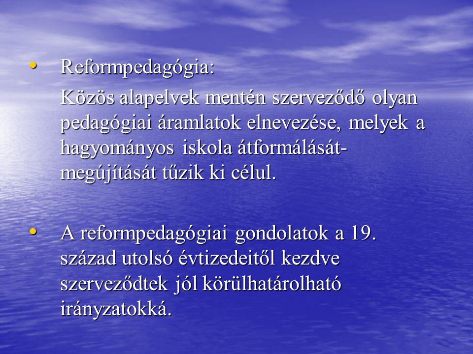 Reformpedagógia: Reformpedagógia: Közös alapelvek mentén szerveződő olyan pedagógiai áramlatok elnevezése, melyek a hagyományos iskola átformálását- m