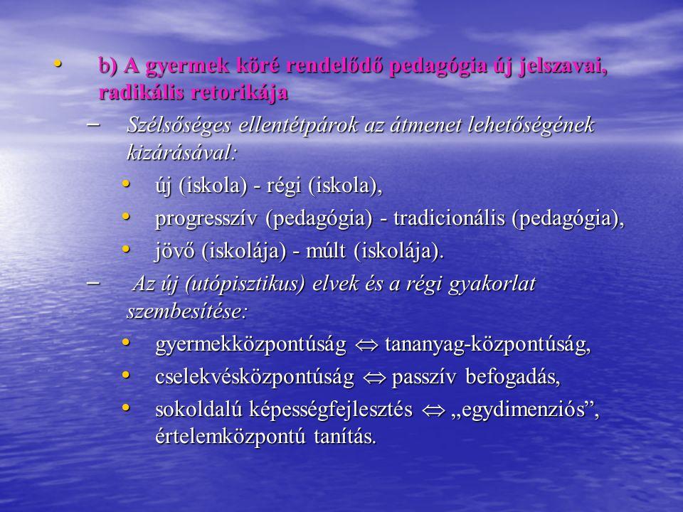 b) A gyermek köré rendelődő pedagógia új jelszavai, radikális retorikája b) A gyermek köré rendelődő pedagógia új jelszavai, radikális retorikája – Sz
