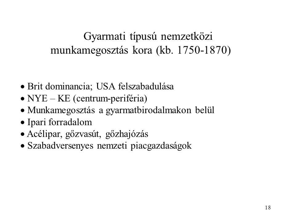18 Gyarmati típusú nemzetközi munkamegosztás kora (kb. 1750-1870)  Brit dominancia; USA felszabadulása  NYE – KE (centrum-periféria)  Munkamegosztá