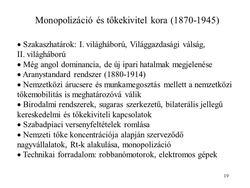 19 Monopolizáció és tőkekivitel kora (1870-1945)  Szakaszhatárok: I. világháború, Világgazdasági válság, II. világháború  Még angol dominancia, de ú