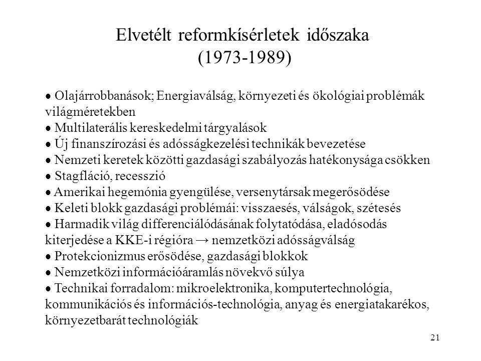 21 Elvetélt reformkísérletek időszaka (1973-1989)  Olajárrobbanások; Energiaválság, környezeti és ökológiai problémák világméretekben  Multilateráli