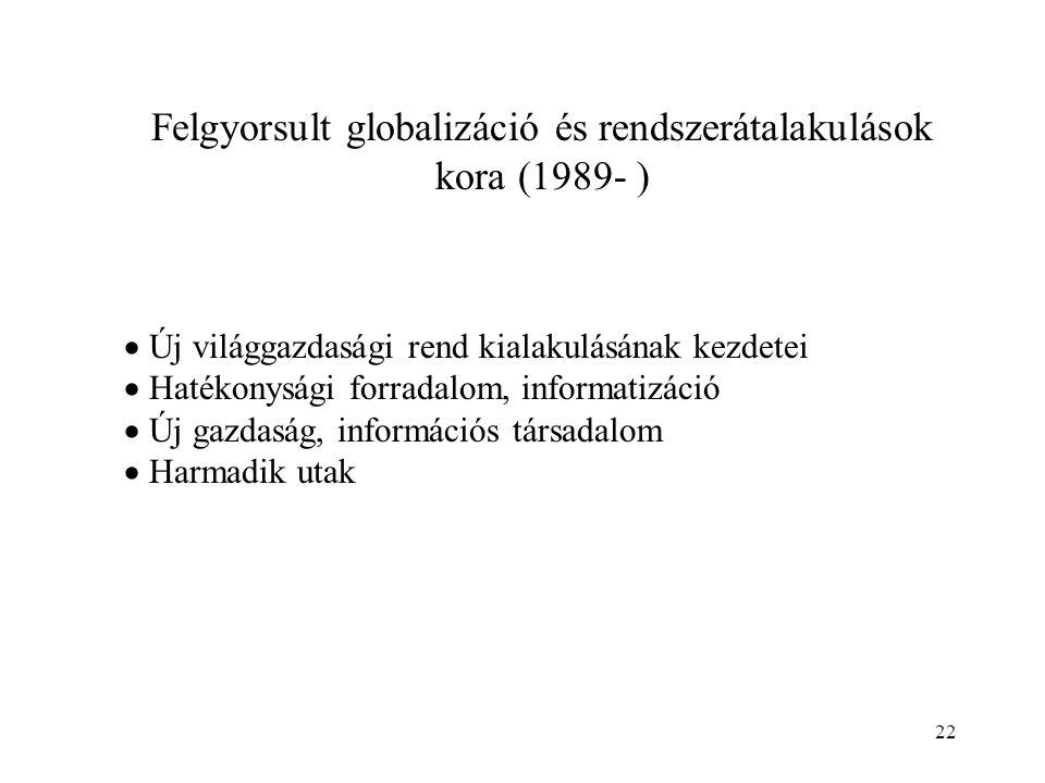 22 Felgyorsult globalizáció és rendszerátalakulások kora (1989- )  Új világgazdasági rend kialakulásának kezdetei  Hatékonysági forradalom, informat