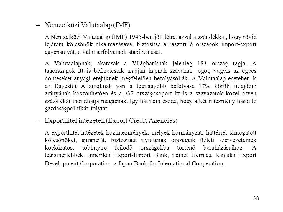38 –Nemzetközi Valutaalap (IMF) A Nemzetközi Valutaalap (IMF) 1945-ben jött létre, azzal a szándékkal, hogy rövid lejáratú kölcsönök alkalmazásával bi