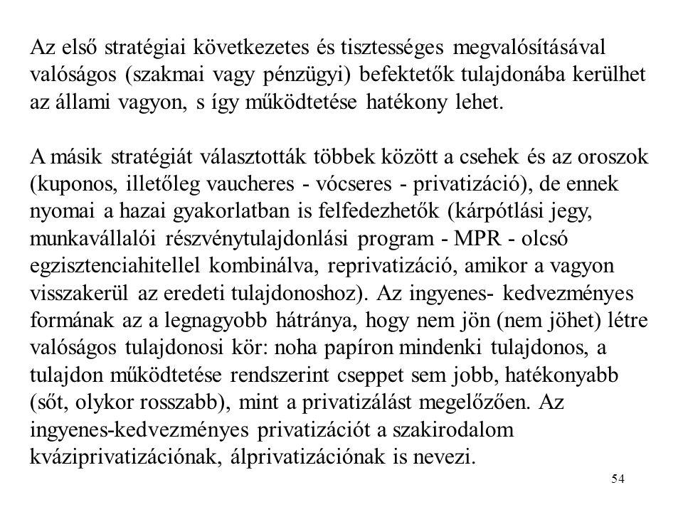 54 Az első stratégiai következetes és tisztességes megvalósításával valóságos (szakmai vagy pénzügyi) befektetők tulajdonába kerülhet az állami vagyon