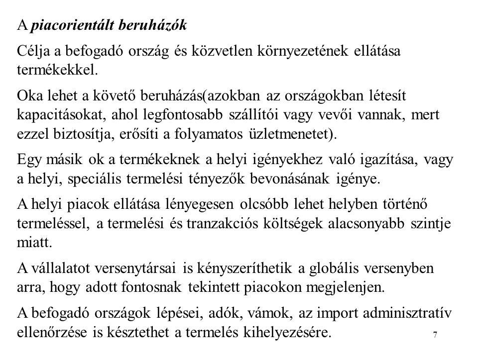 18 Gyarmati típusú nemzetközi munkamegosztás kora (kb.