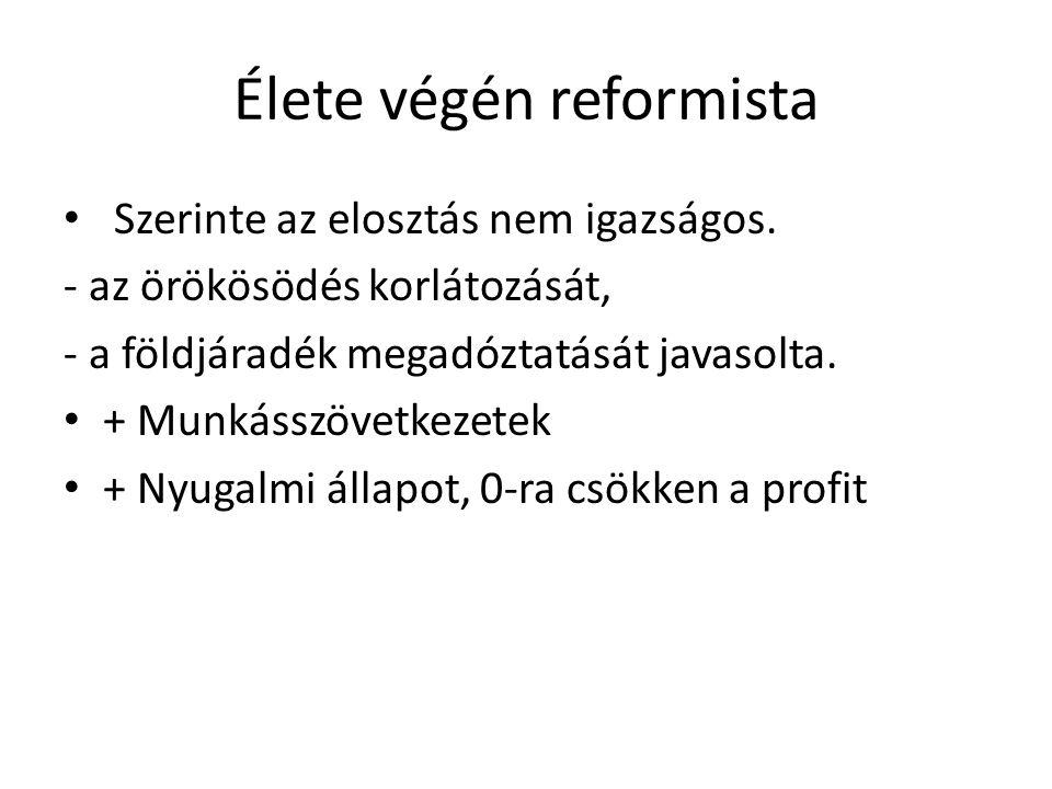 Élete végén reformista Szerinte az elosztás nem igazságos. - az örökösödés korlátozását, - a földjáradék megadóztatását javasolta. + Munkásszövetkezet