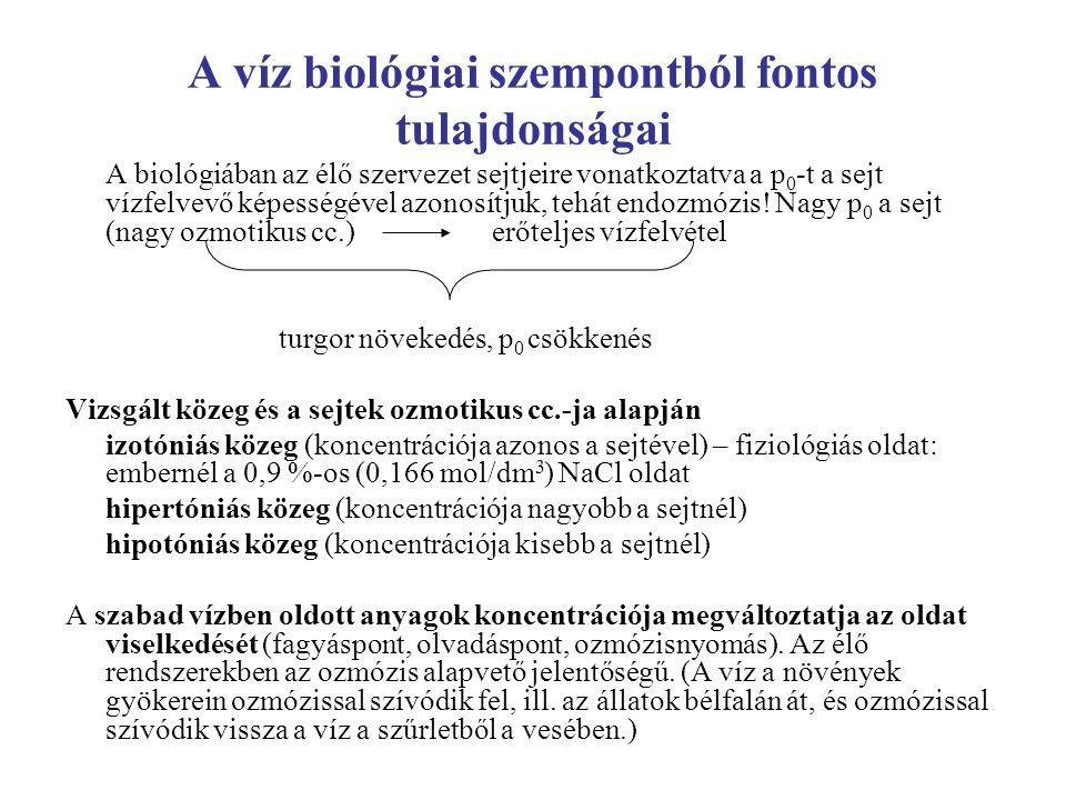 A víz biológiai szempontból fontos tulajdonságai A biológiában az élő szervezet sejtjeire vonatkoztatva a p 0 -t a sejt vízfelvevő képességével azonos