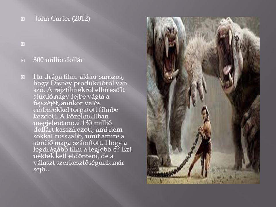  John Carter (2012)   300 millió dollár  Ha drága film, akkor sanszos, hogy Disney produkcióról van szó. A rajzfilmekről elhíresült stúdió nagy fe