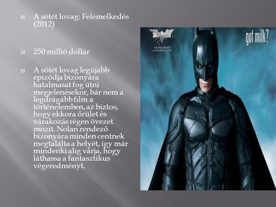  A sötét lovag: Felemelkedés (2012)  250 millió dollár  A sötét lovag legújabb epizódja bizonyára hatalmasat fog ütni megjelenésekor, bár nem a leg