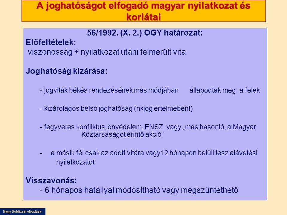 Nagy Boldizsár előadása A joghatóságot elfogadó magyar nyilatkozat és korlátai 56/1992. (X. 2.) OGY határozat: Előfeltételek: viszonosság + nyilatkoza