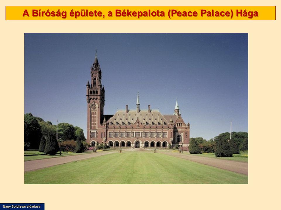 Nagy Boldizsár előadása A Bíróság épülete, a Békepalota (Peace Palace) Hága