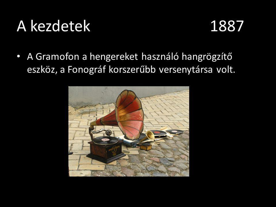 A kezdetek1887 A Gramofon a hengereket használó hangrögzítő eszköz, a Fonográf korszerűbb versenytársa volt.