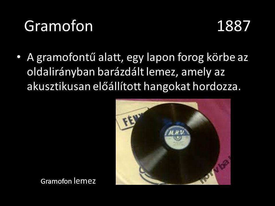 Gramofon1887 A gramofontű alatt, egy lapon forog körbe az oldalirányban barázdált lemez, amely az akusztikusan előállított hangokat hordozza. Gramofon