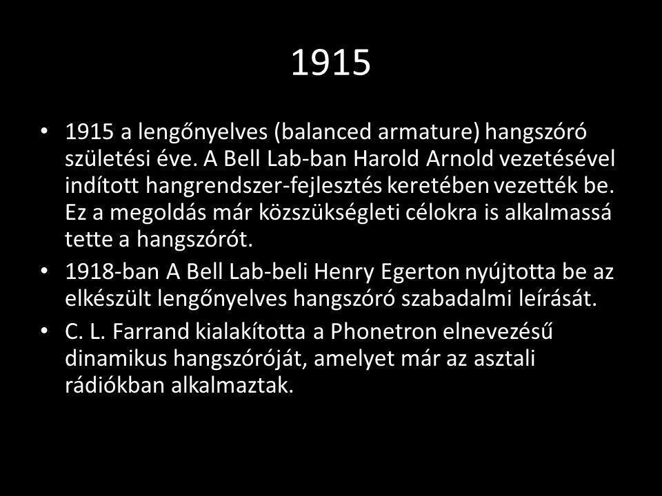 1915 1915 a lengőnyelves (balanced armature) hangszóró születési éve. A Bell Lab-ban Harold Arnold vezetésével indított hangrendszer-fejlesztés kereté