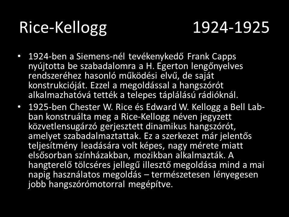 Rice-Kellogg1924-1925 1924-ben a Siemens-nél tevékenykedő Frank Capps nyújtotta be szabadalomra a H. Egerton lengőnyelves rendszeréhez hasonló működés