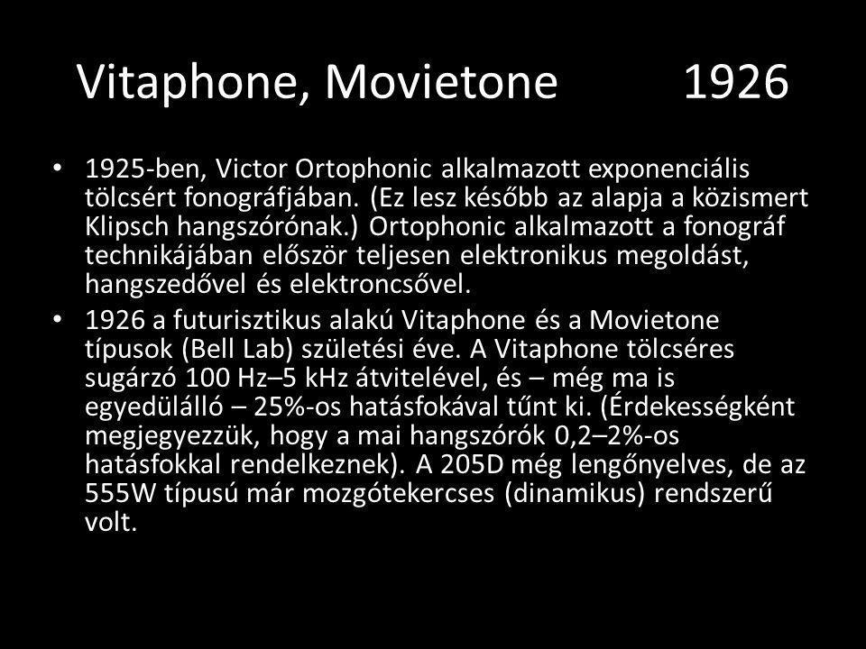 Vitaphone, Movietone 1926 1925-ben, Victor Ortophonic alkalmazott exponenciális tölcsért fonográfjában. (Ez lesz később az alapja a közismert Klipsch