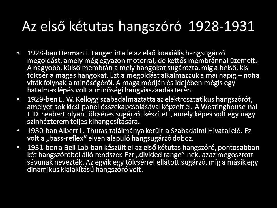 Az első kétutas hangszóró1928-1931 1928-ban Herman J. Fanger írta le az első koaxiális hangsugárzó megoldást, amely még egyazon motorral, de kettős me