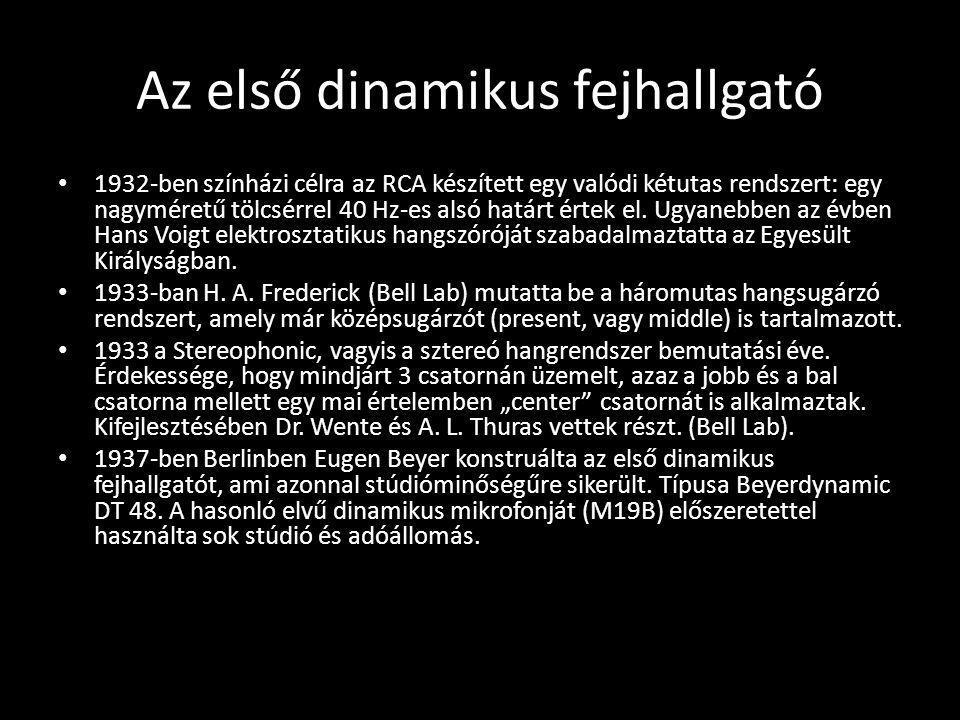 Az első dinamikus fejhallgató 1932-ben színházi célra az RCA készített egy valódi kétutas rendszert: egy nagyméretű tölcsérrel 40 Hz-es alsó határt ér