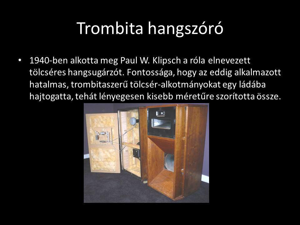Trombita hangszóró 1940-ben alkotta meg Paul W. Klipsch a róla elnevezett tölcséres hangsugárzót. Fontossága, hogy az eddig alkalmazott hatalmas, trom
