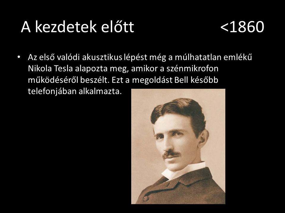 A kezdetek előtt <1860 Az első valódi akusztikus lépést még a múlhatatlan emlékű Nikola Tesla alapozta meg, amikor a szénmikrofon működéséről beszélt.
