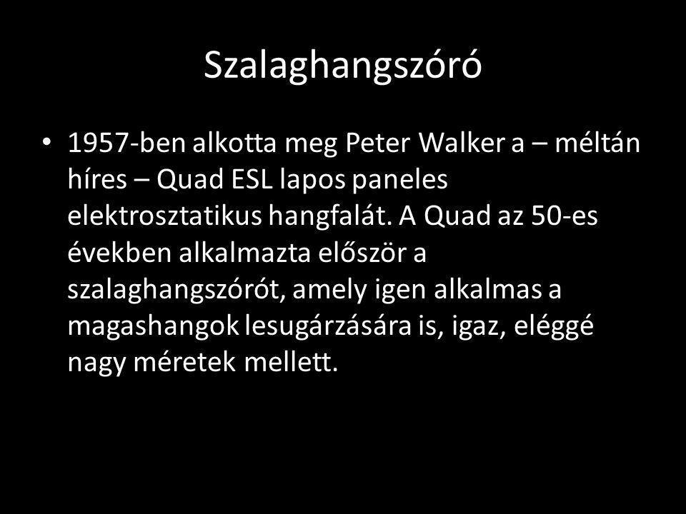 Szalaghangszóró 1957-ben alkotta meg Peter Walker a – méltán híres – Quad ESL lapos paneles elektrosztatikus hangfalát. A Quad az 50-es években alkalm