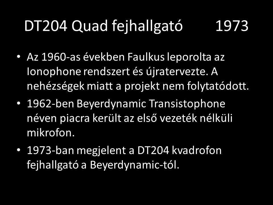 DT204 Quad fejhallgató 1973 Az 1960-as években Faulkus leporolta az Ionophone rendszert és újratervezte. A nehézségek miatt a projekt nem folytatódott