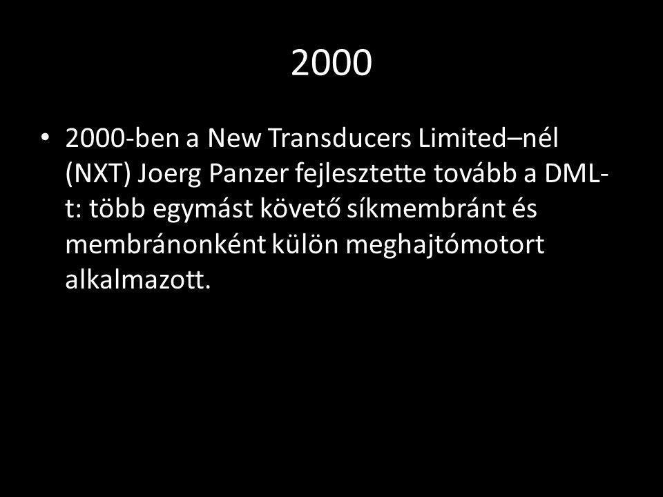 2000 2000-ben a New Transducers Limited–nél (NXT) Joerg Panzer fejlesztette tovább a DML- t: több egymást követő síkmembránt és membránonként külön me