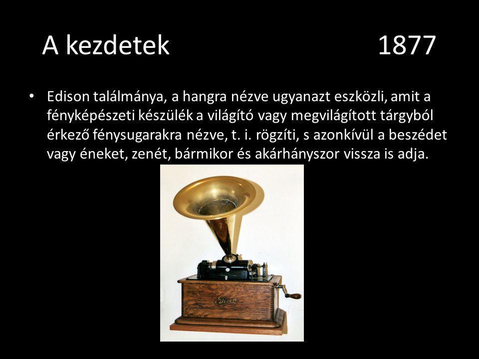 A kezdetek 1877 Edison találmánya, a hangra nézve ugyanazt eszközli, amit a fényképészeti készülék a világító vagy megvilágított tárgyból érkező fénys