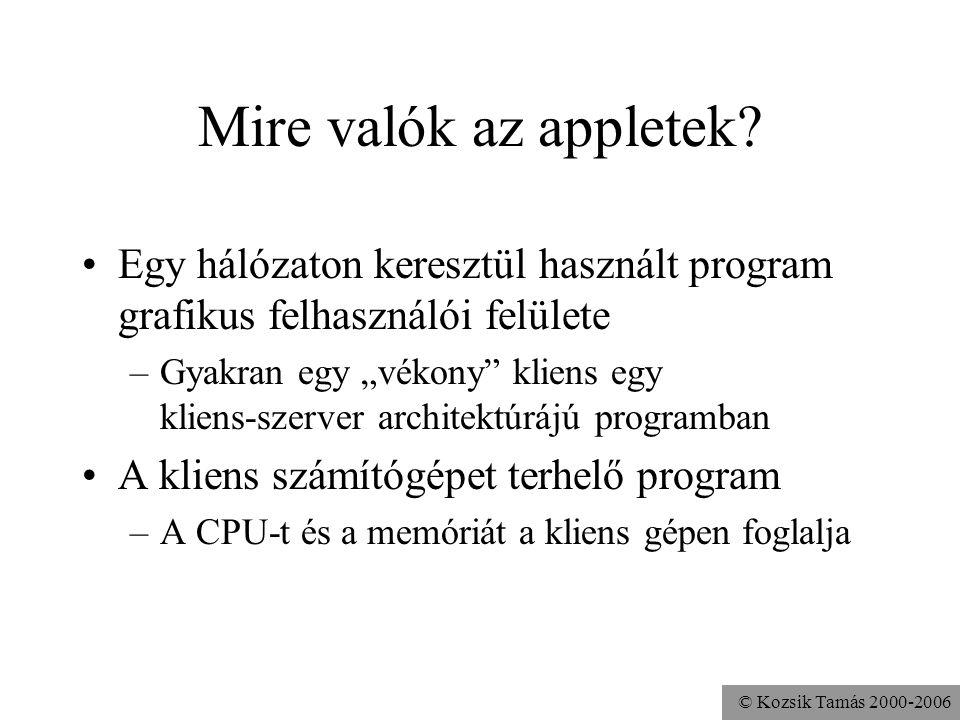 © Kozsik Tamás 2000-2006 Mire valók az appletek.