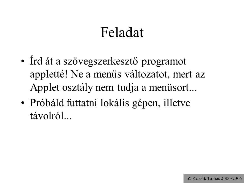 © Kozsik Tamás 2000-2006 Feladat Írd át a szövegszerkesztő programot appletté.