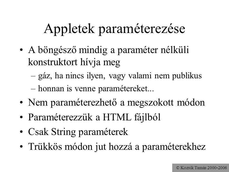 © Kozsik Tamás 2000-2006 Appletek paraméterezése A böngésző mindig a paraméter nélküli konstruktort hívja meg –gáz, ha nincs ilyen, vagy valami nem publikus –honnan is venne paramétereket...