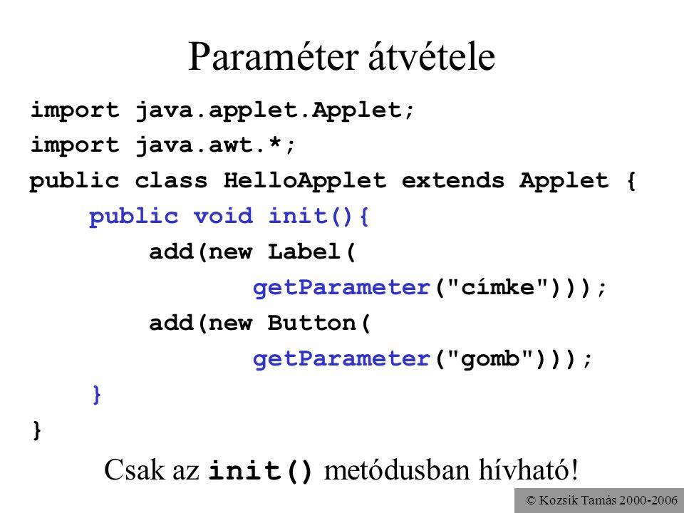 © Kozsik Tamás 2000-2006 Paraméter átvétele import java.applet.Applet; import java.awt.*; public class HelloApplet extends Applet { public void init(){ add(new Label( getParameter( címke ))); add(new Button( getParameter( gomb ))); } Csak az init() metódusban hívható!