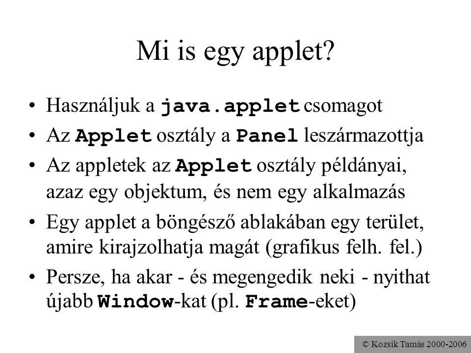 © Kozsik Tamás 2000-2006 Példa import java.applet.Applet; import java.awt.*; public class HelloApplet extends Applet { public HelloApplet(){ add(new Label( Hello )); } Az osztály és a konstruktor is publikus