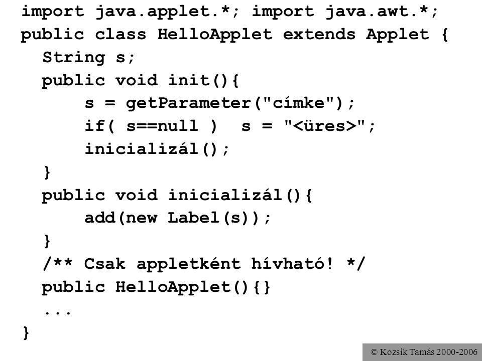 © Kozsik Tamás 2000-2006 import java.applet.*; import java.awt.*; public class HelloApplet extends Applet { String s; public void init(){ s = getParam