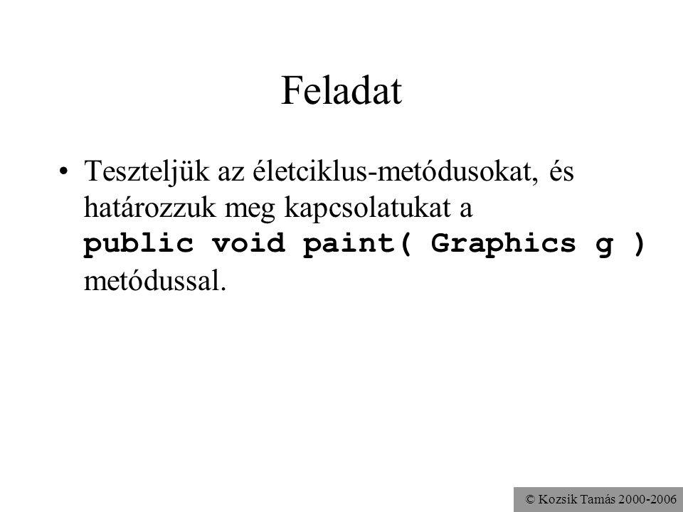 © Kozsik Tamás 2000-2006 Feladat Teszteljük az életciklus-metódusokat, és határozzuk meg kapcsolatukat a public void paint( Graphics g ) metódussal.