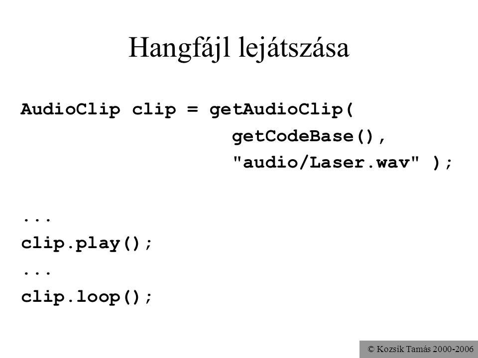 © Kozsik Tamás 2000-2006 Hangfájl lejátszása AudioClip clip = getAudioClip( getCodeBase(), audio/Laser.wav );...