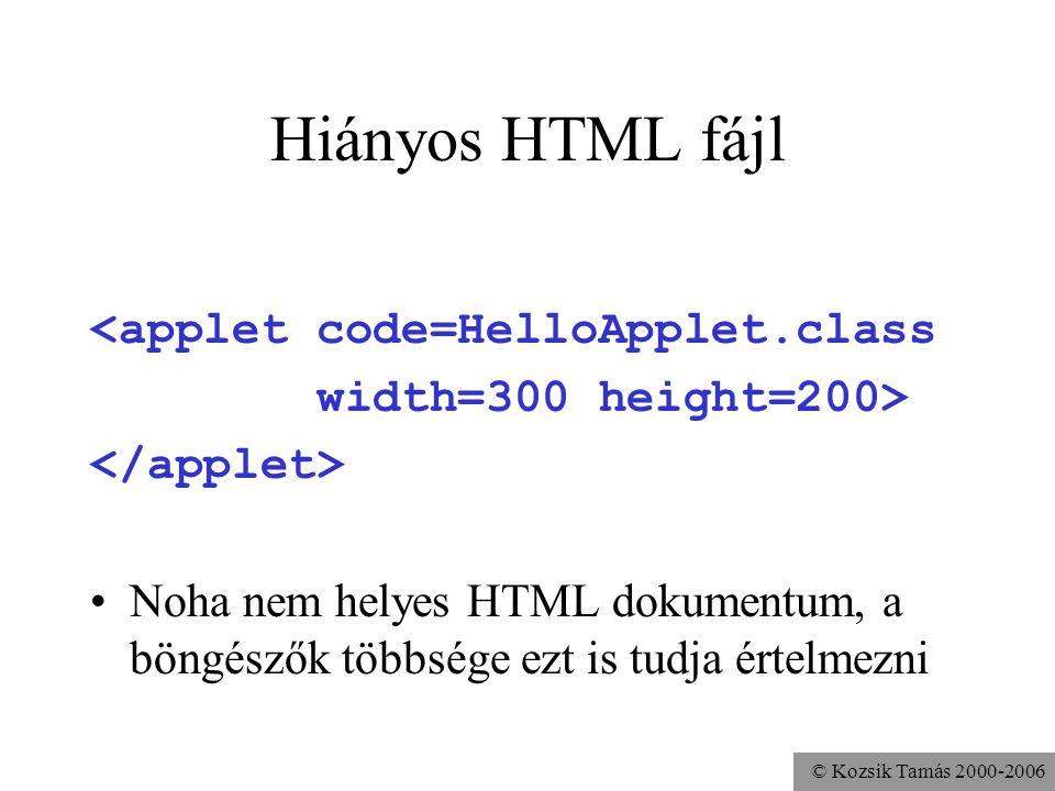 © Kozsik Tamás 2000-2006 Kipróbálás Legyen a HTML fájl és a hivatkozott Java class fájl ugyanabban a könyvtárban Egy WEB-böngészővel jelenítsük meg a HTML oldalt Ha mégsem megy: –Nincs engedélyezve a böngészőben a Java –Nem publikus az appletünk vagy a paraméter nélküli konstruktora –Túl régi a böngészőbe integrált virtuális gép a Java plug-in segíthet