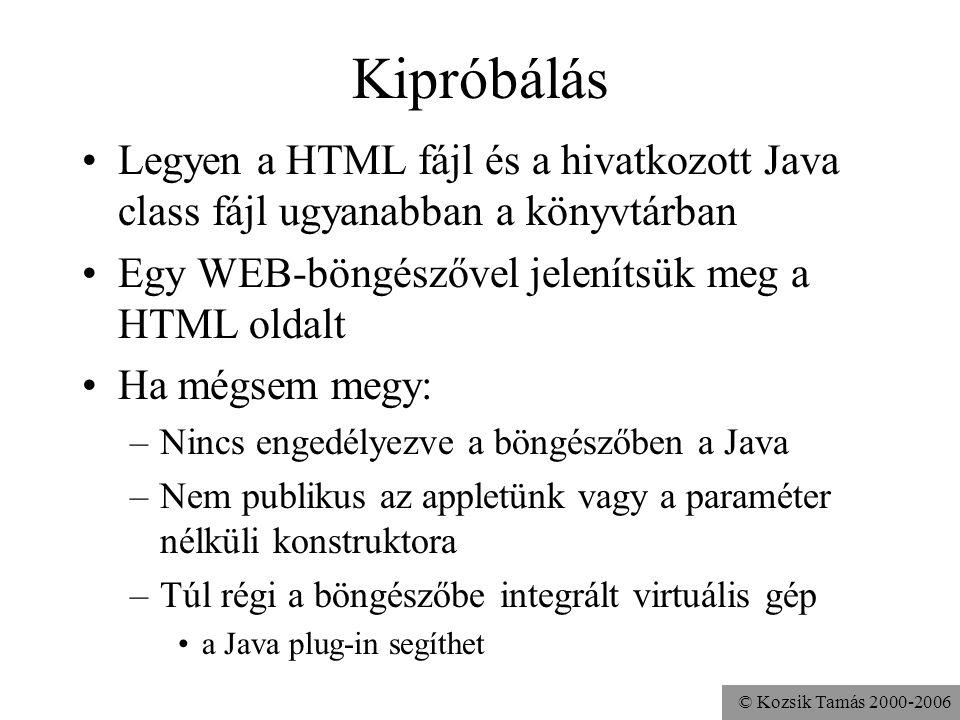 © Kozsik Tamás 2000-2006 Hangfájl lejátszása import java.applet.Applet; public class Hangos extends Applet { public void init(){ play( getCodeBase(), audio/Laser.wav ); }