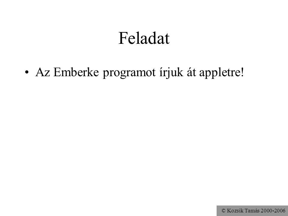 © Kozsik Tamás 2000-2006 Feladat Az Emberke programot írjuk át appletre!