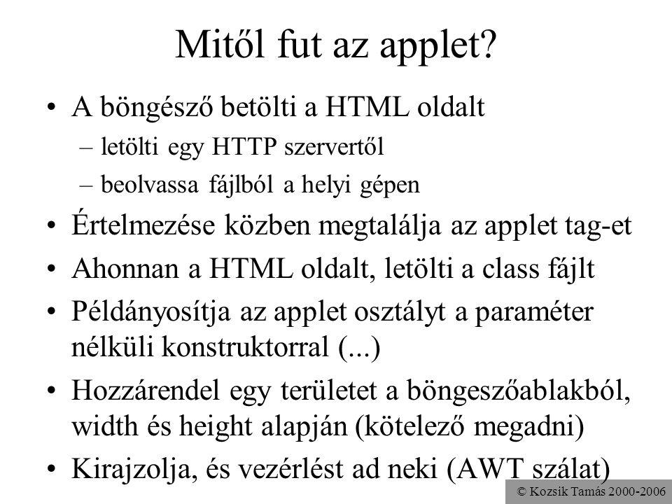 © Kozsik Tamás 2000-2006 Képfájl megjelenítése import java.applet.Applet; public class Hangos extends Applet { Image kép; public void init(){ kép = getImage( getCodeBase(), pics/hills.gif ); } public void paint(Graphics g){ g.drawImage(kép,0,0,this); }