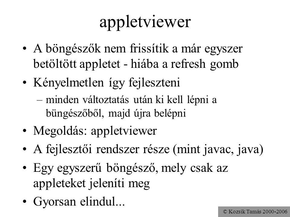 © Kozsik Tamás 2000-2006 appletviewer indítása $ ls HelloApplet.class HelloApplet.java hello.html $ appletviewer hello.html