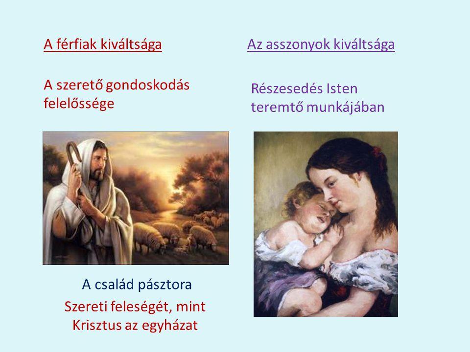 A férfiak kiváltsága A szerető gondoskodás felelőssége Az asszonyok kiváltsága Részesedés Isten teremtő munkájában A család pásztora Szereti feleségét, mint Krisztus az egyházat